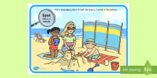 Phase 5 a-e Words Beach Scene Magnifying Glass Activity Sheet