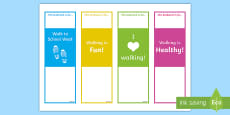 * NEW * Walk to School Week Editable Bookmarks