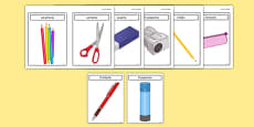 Tarjetas de vocabulario: Los objetos de mi estuche