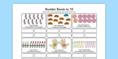 Number Bonds to 10 Stories Activity Sheet