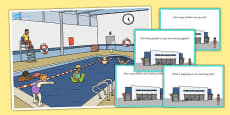 Swimming Pool Scene and Question Cards