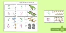 Puzzle de emparejar números: Los dinosaurios