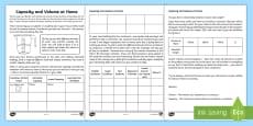 Capacity and Volume at Home Activity Sheet