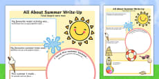 Summer Holiday Write Up Worksheet Romanian Translation