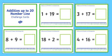 Addition up to 20 with a Number Line Challenge Cards