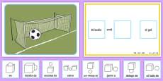 Juego de fútbol - preposiciones de lugar