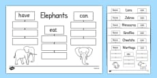Safari Animals Have Eat Can Writing Frames