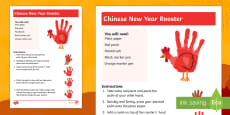 Year of the Rooster Handprint Craft Instructions