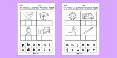 CVC Words Cut and Paste Worksheets Mixed