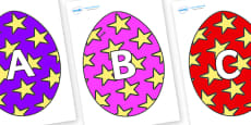 A-Z Alphabet on Easter Eggs (Stars)