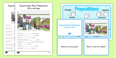 Supermarket Place Prepositions Pack