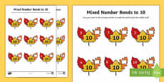 Autumn Leaf Mixed Number Bonds to 10 Activity Sheet