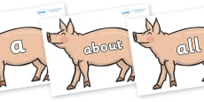 100 High Frequency Words on Pig to Support Teaching on Pig in the Pond