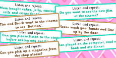 Listen and Repeat 10-11 Word Length Sentence Cards Set 2