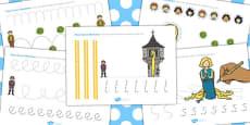 Rapunzel Pencil Control Path Worksheets