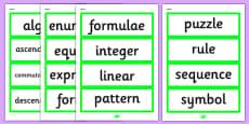 Year 6 2014 Curriculum Algebra Vocabulary Cards