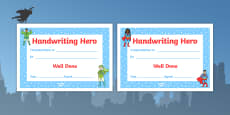 Handwriting Hero Certificate Boys Girls