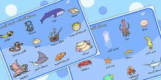 Under the Sea Word Mat Arabic