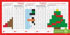 Christmas Maths Mosaic Activity Sheets English/Romanian