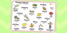 Autumn Word Mat Arabic Translation