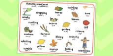 Autumn Word Mat Arabic Translation