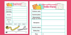 Tailors and Dressmakers Shop Order Sheets