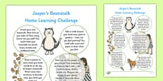 EYFS Home Learning Challenge Sheet Reception FS2 to Support Teaching on Jasper's Beanstalk