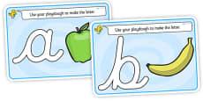 Alphabet Playdough Mats (cursive)