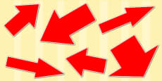 Red Directional Arrows Cut Outs