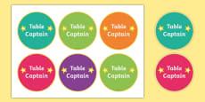 Table Captain Badges