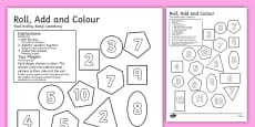 2D Shapes Roll and Colour Dice Addition Activity English/Polish