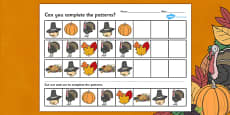 Thanksgiving Complete the Pattern Activity Sheet