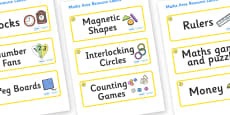 Buttercup Themed Editable Maths Area Resource Labels