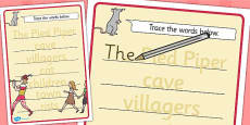 The Pied Piper Trace the Words Activity Sheets