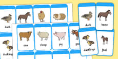 Mothers and their Young Farm Animals Flash Cards