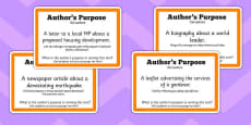 Guided Reading Skills Task Cards Author\'s Purpose Polish Translation