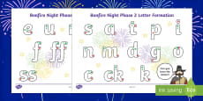 Bonfire Night Themed Phase 2 Grapheme Letter Formation Activity Sheet