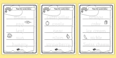 Trace the Words Activity Sheets to Support Teaching on The Very Hungry Caterpillar