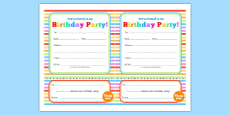 Rainbow Themed Birthday Party Invitations