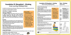Foundation PE (Reception) - Climbing Home Learning Challenge Sheet
