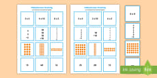 2, 5 and 10 Times Table Multiplication Matching Puzzle