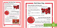 * NEW * KS1 Comic Relief (Red Nose Day) Differentiated Fact File