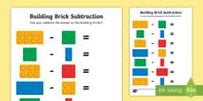 Building Brick Subtraction Activity Sheet