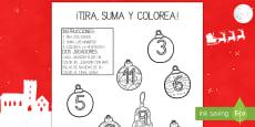 Ficha de tirar el dado y colorear - La Navidad