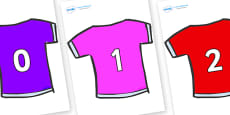 Numbers 0-50 on T-Shirts