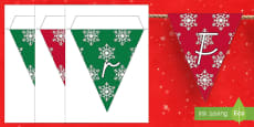 Frohe Weihnachten Fahnengirlande für die Klassenraumgestaltung