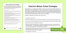 Selective Mutism School Strategies Adult Guidance