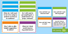Drama Self-Evaluation Flashcards