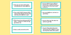 Embrace Our Differences Circle Time Prompt Word Cards