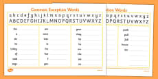 Handwriting Strip With Year 1 Common Exception Words Practice